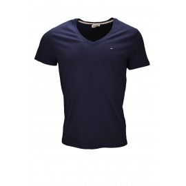 T-shirt col v Tommy Hilfiger bleu marine Panson basique pour homme