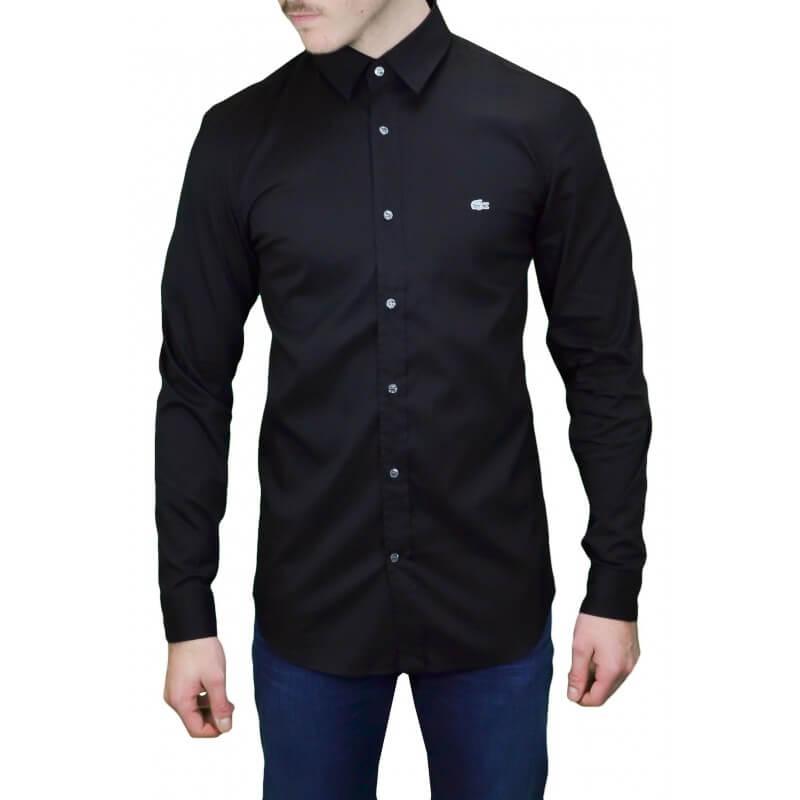 2b89e50509 chemise homme lacoste noir,Chemise Lacoste Homme Manches Courtes Noir Clhmc  1241 Prix France